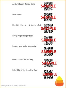 Fun and Friendly Halloween Songs with QR Codes, Music and Movement Activity