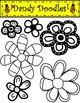 Fun and Funky Flowers (Red and Yellow) Clip Art by Dandy Doodles