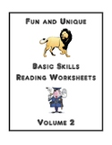 Fun and Unique Basic Skills Reading Worksheets, Volume 2