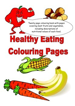 Fun and educational fruit and vegetable colouring worksheets 20 pages in total