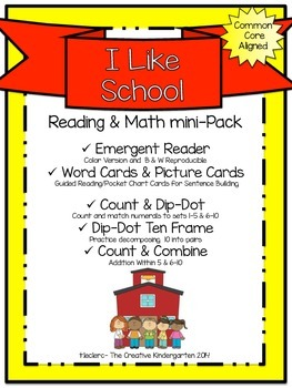 I Like School: Emergent Reader & Math mini-Pack {Common Co