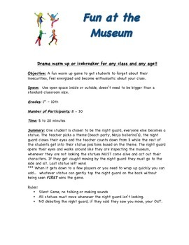 Drama class warmup or Ice Breaker game for any class : Fun at the Museum