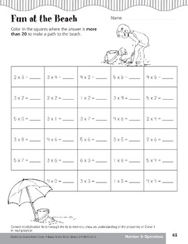 Fun at the Beach (Multiplication Facts through 6s)