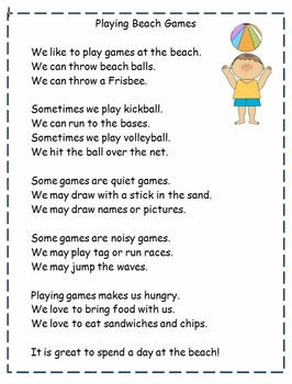 First Grade Reading and Comprehension: Beach Theme