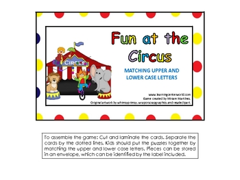Fun at the Circus. Match upper and lower case letters.