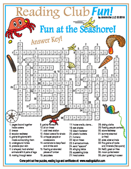 Fun at the Seashore Crossword Puzzle