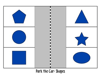 Fun color, shape, number, and letter identification game: Park your car activity
