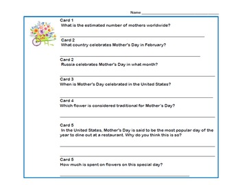 Fun Facts About Mother's Day- Scavenger Hunt- Read The Room- Grades 4-7