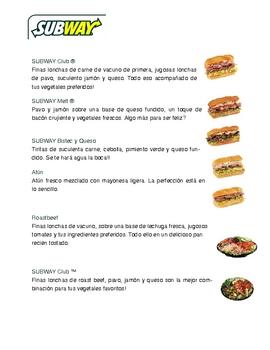 Fun fast food restaurant activities in Spanish.