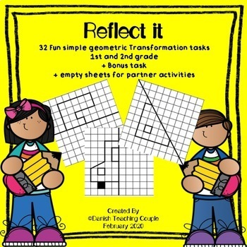 Fun geometric transformation tasks - Reflecting simple shapes in mirror lines