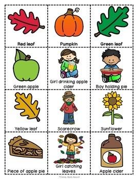 Fun in Fall Vocabulary Bingo