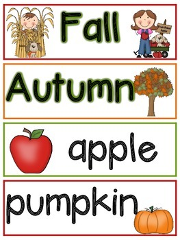 Fun in Fall Vocabulary Word Wall Picture Cards
