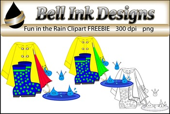 Fun in the Rain Clipart FREEBIE
