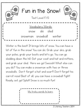 Fun in the Snow: CCSS Aligned Leveled Reading Passages and Activities