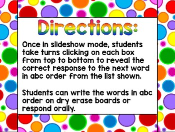 Fun in the Sun – ABC Order Interactive PowerPoint