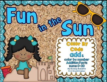 Fun in the Sun Color By Code Addition sums 0-20