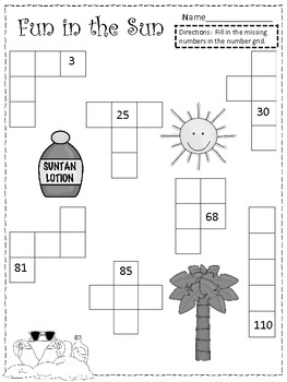 Fun in the Sun Common Core Number Grid Practice