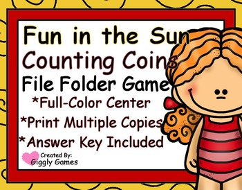 Fun in the Sun Counting Coins File Folder Game