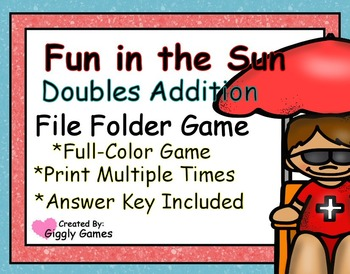 Fun in the Sun Doubles Addition File Folder Game