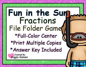 Fun in the Sun Fractions File Folder Game