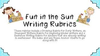 Fun in the Sun Kinder Writing Rubrics