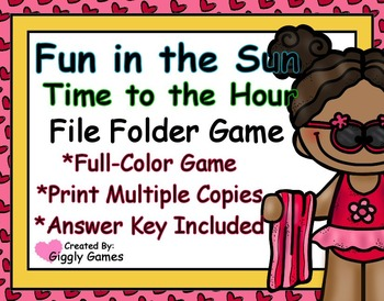 Fun in the Sun Time to the Hour File Folder Game