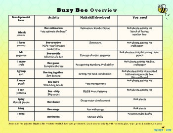Buzy Bee, fun activities to promote love for math