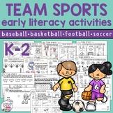 Fun, no-prep early literacy skills   Sports theme digital,