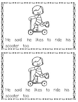 "Fun on Wheels Emergent Reader: Sight Word Focus: ""he, she, his, her, said"""
