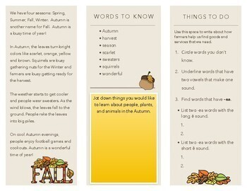 Autumn TriFold Activity Sheet