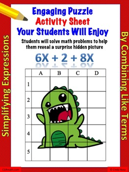 Fun puzzle activity sheet simplifying expressions by combining like terms