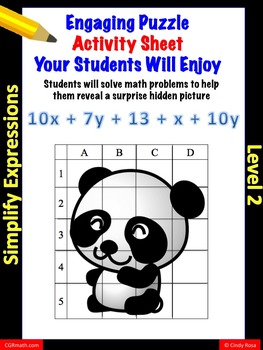 Fun puzzle activity sheet simplifying expressions by combi