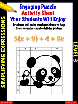 Fun puzzle activity sheet simplifying expressions with distributive property