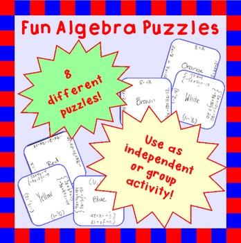 Fun puzzles to practice Algebra 1 concepts: solving, simplifying, etc.