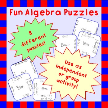Fun puzzles to practice Algebra 1 concepts: solving, simpl