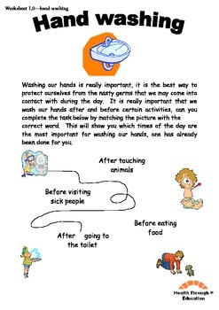 Fun reading and writing worksheets - hand washing themed