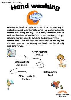 Fun reading and writing worksheets - hand washing themed