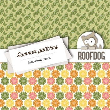 Fun retro citrus punch digital papers summer fruit patterns