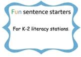 Fun sentence starters