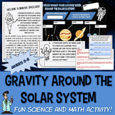 Fun space worksheet Gravity solar system 6 7 Jr High science math TX TEKS 6.11 B