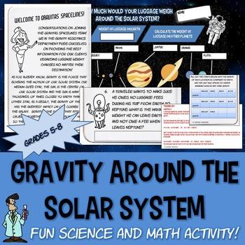 Fun space worksheet Gravity solar system 6 7 Jr High science math TX TEKS 6.11 B