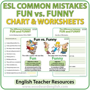 Fun vs. Funny - ESL Worksheets by Woodward Education | TpT