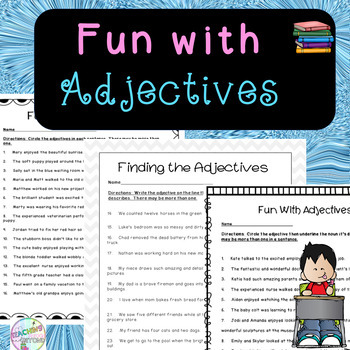 Fun with Adjectives - No Prep Worksheet