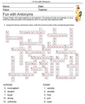 Fun with Antonyms Crossword Puzzles