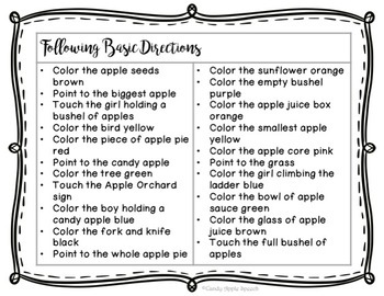 Fun with Apples Following Directions Pack