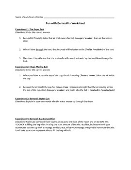 Fun with Bernoulli: Activities (with teacher instructions) and Student Worksheet