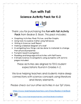 Fun with Fall Science Activity Pack