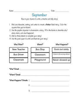 Writing prompts: story writing throughout the school year