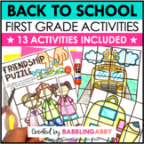 First Day of School Activities First Grade and Jitter Juice