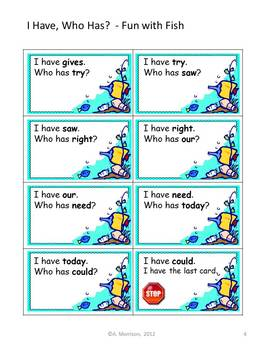 """Fun with Fish """"I HAVE, WHO HAS?"""" Sight Word Practice for Harcourt Trophies"""